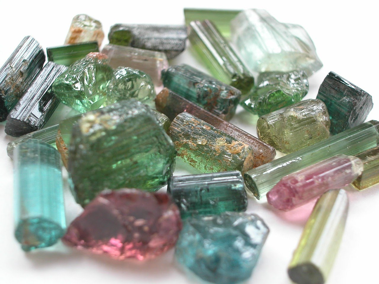 wholesale tourmaline crystals in pink green and other colors