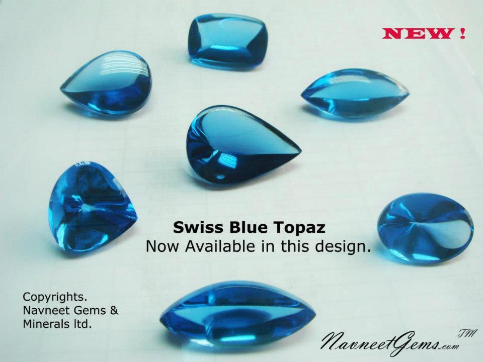 Swiss Blue Topaz cabochons