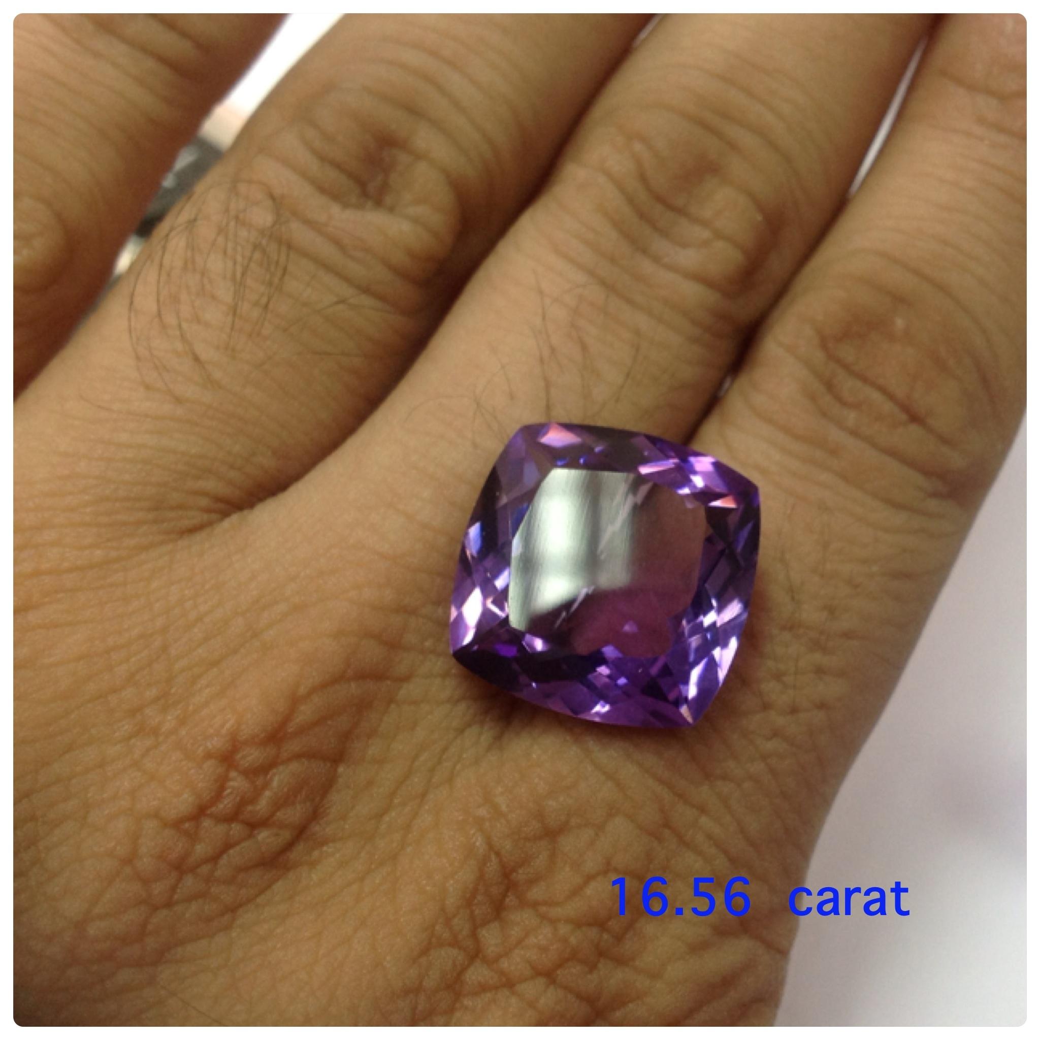 Amethyst cushion 15 carats up