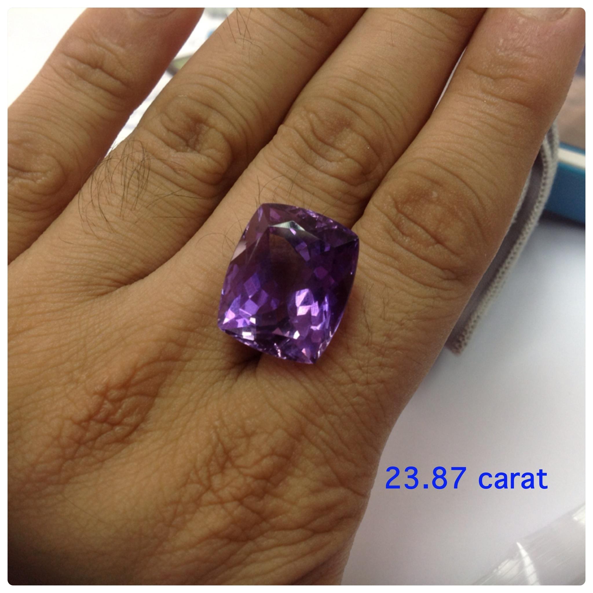 Amethyst Cushion 20 carats up