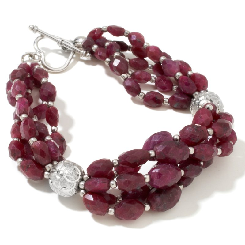 Faceted Ruby Sterling Silver Bead Bracelet
